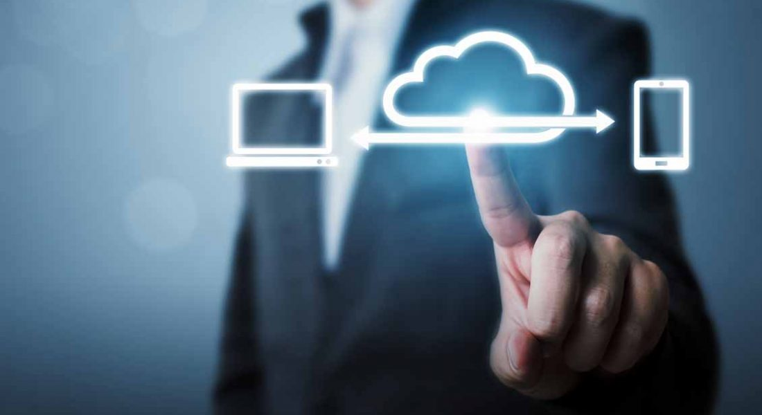 Cloud computing and technology network connection concept, Businessman hand holding icon cloud server transfer data device